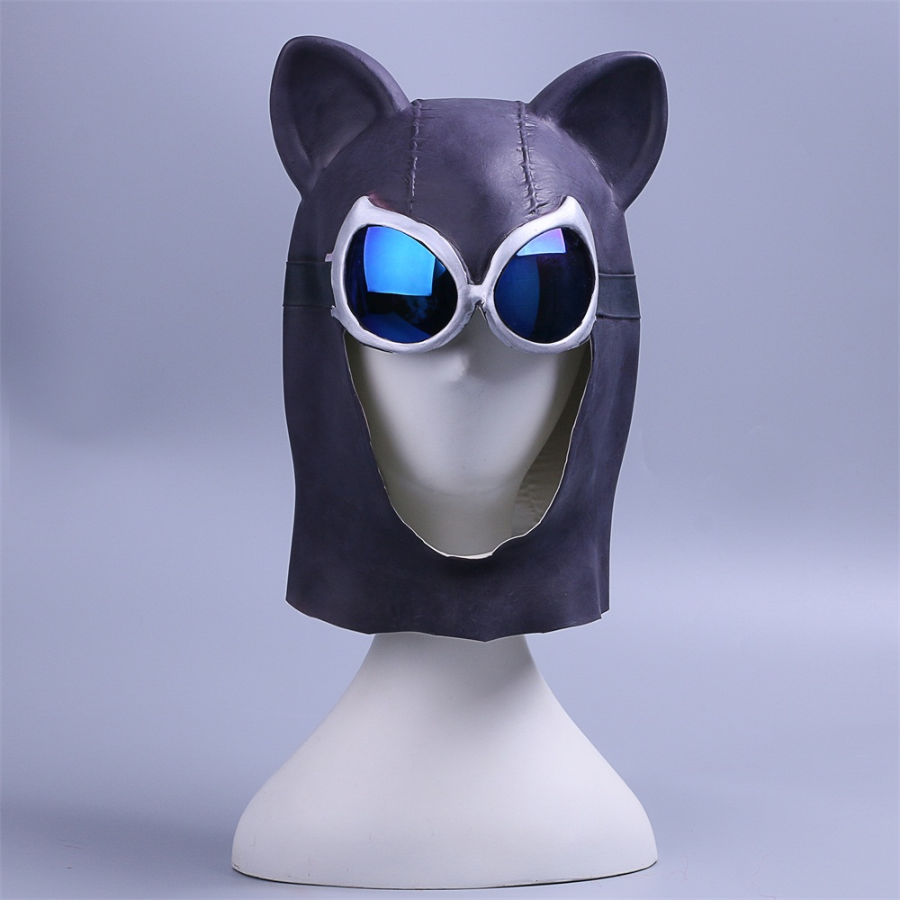 Cosplay Catwoman Mask Black Latex Cat Mask Cat Woman Batman Halloween Mask Prop (3)