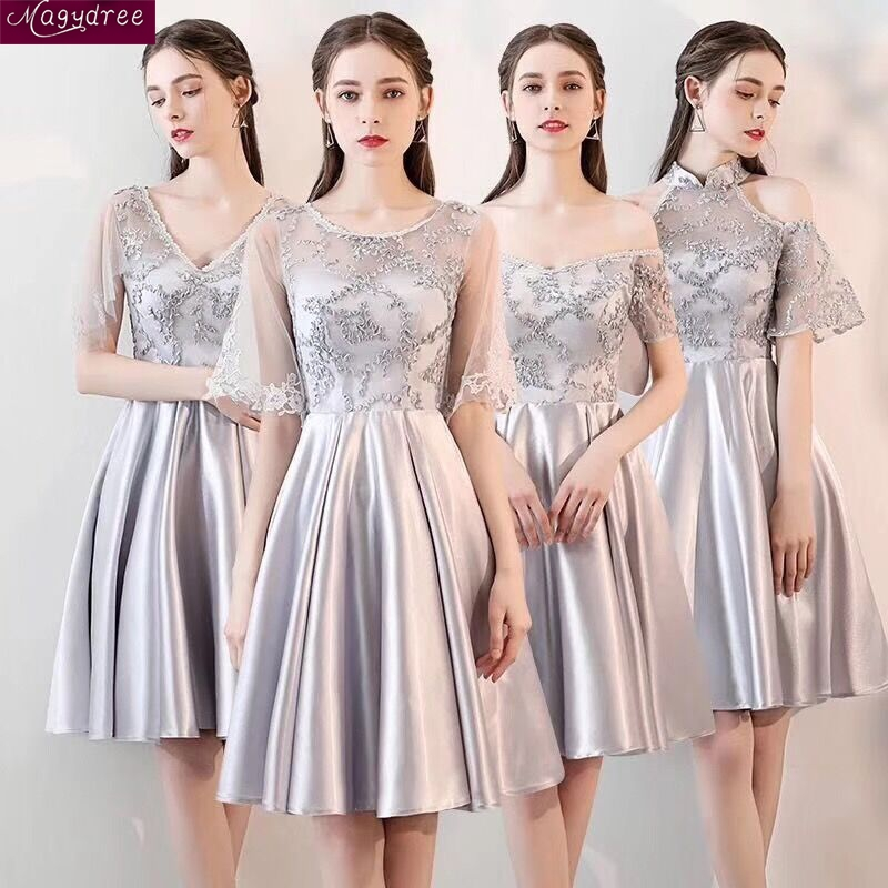 Us 39 78 61 Off Magydree Silver Bridesmaid Dresses Simple Satin Vestidos De Festa Lace Wedding Party Gown Maid Honor In