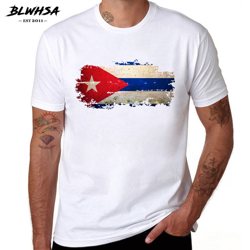 BLWHSA Cuba Flag T Shirt Men Fashion Short Sleeve Round Neck Brand Printing T-shirts Hip Hop Cuba Flag Funny Men Tshirts