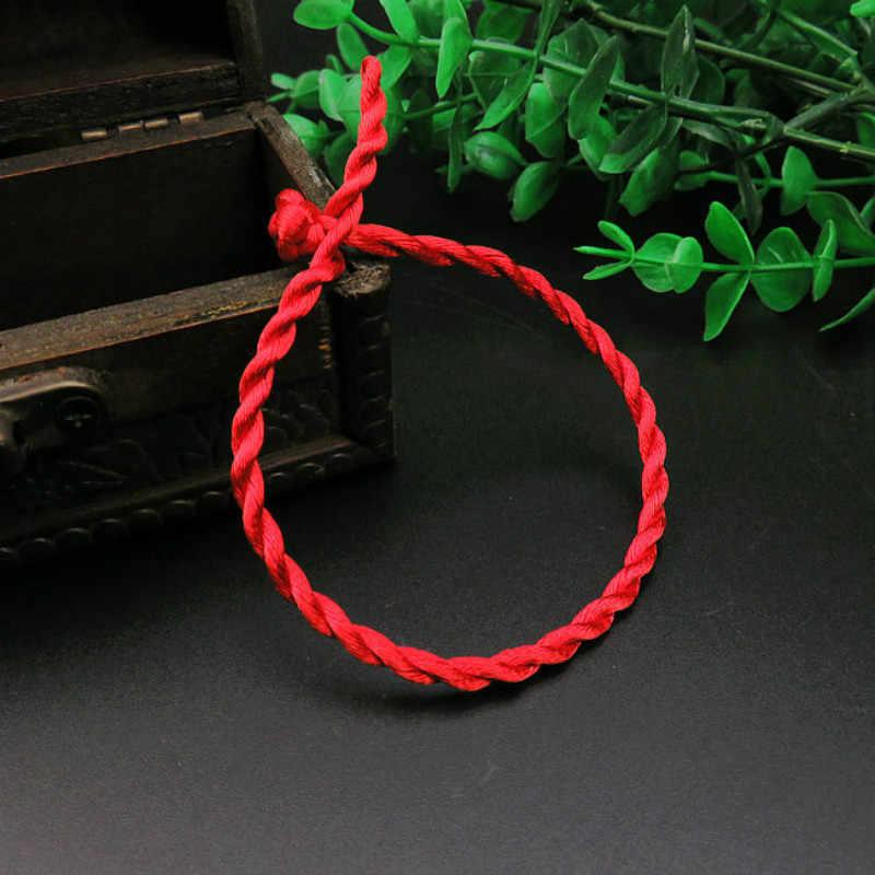 1 pieza 2mm 4mm pulsera de cuerda de hilo rojo de moda pulsera de cuerda hecha a mano rojo de la suerte para hombres y mujeres amante de la joyería de par