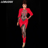 Высокое качество красные цветы Стразы комбинезон женский костюм для ночного клуба пикантные вечерние модели комбинезон для подиума одежда
