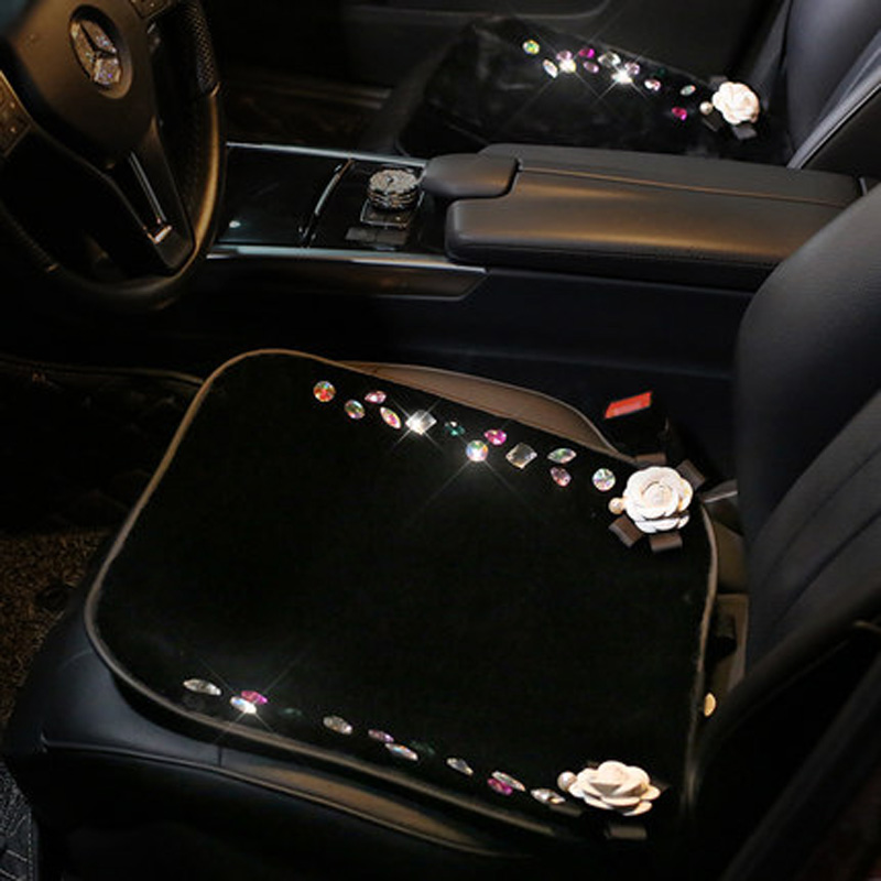 Winter Warm Camellia Auto Seat Cushion Universal Size Car Seat Protector Covers Crystal Diamond Anti Slip Back Seats Mats Pad