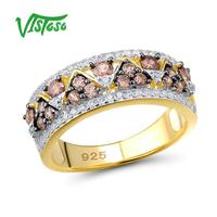 VISTOSO Silver Ring For Woman Round Chocolate Cubic Zirconia Gold Color Authentic 100% 925 Sterling Silver Trendy Fine Jewelry