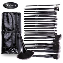 DE'LANCI Professional Makeup Brushes 32 pcs Cosmetic Kit Eyebrow Blush Foundation Powder Make up Brush Set With Black Case