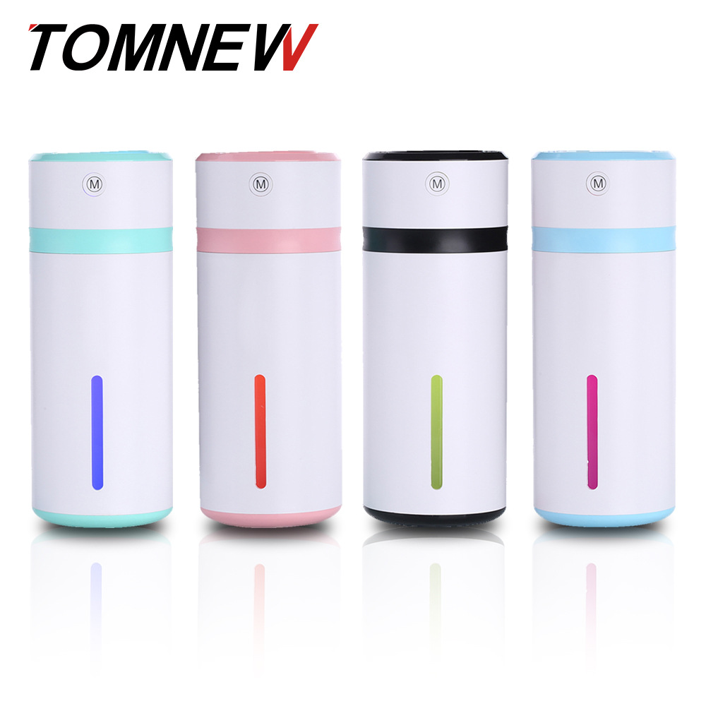 TOMNEW 230ML Air Humidifier Color Cup USB Mini Ultrasonic Aroma Diffuser Air Purifier with LED Night Light for Home Office Car dmwd ultrasonic car air purifier solar energy office household aroma humidifier negative ions remove formaldehyde haze and pm2 5