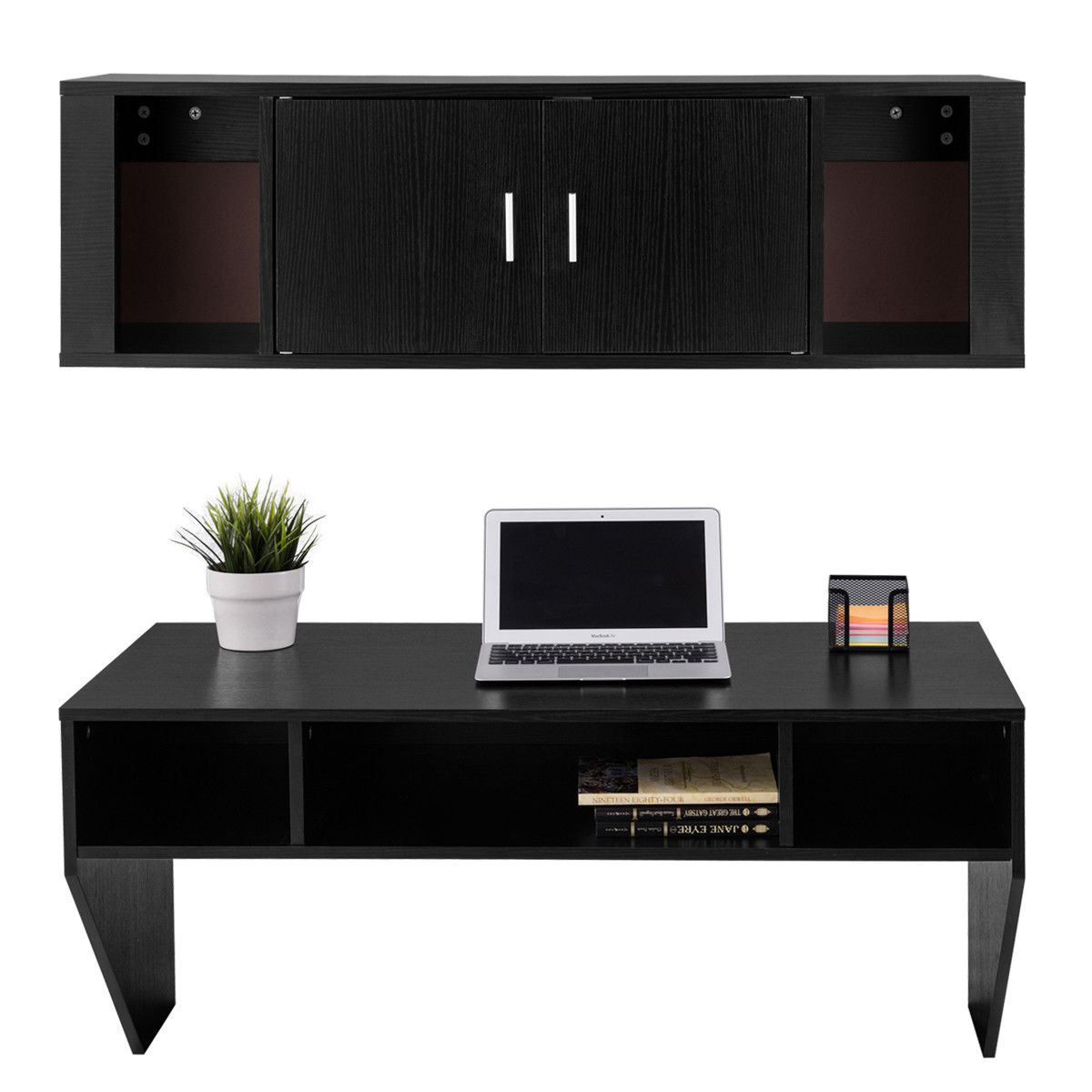 Good Giantex Home Office Furniture Set Wall Mounted Floating Storage Cabinet +  Computer Table Desk Modern Storage Shelves HW56624 In Living Room Cabinets  From ...