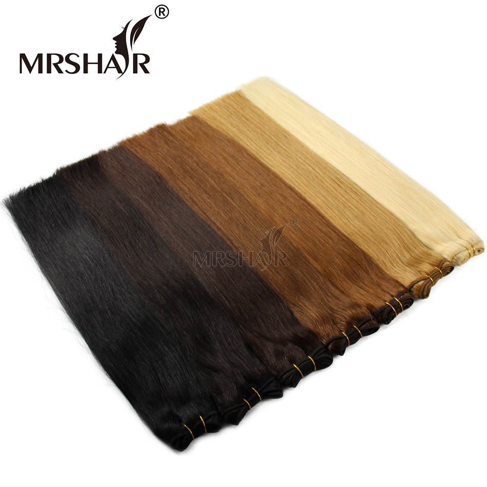 1pc Remy Hair Weaves Straight 100grams Brazilian Natural Human Hair Weaving Double Wefted Blonde Black Human Hair Products