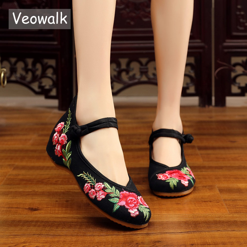 Veowalk Women's Vintage Embroidered Canvas Ballet Flats Ladies Comfortable Chinese Ballerinas Women Embroidery Shoes veowalk handmade fashion women ballerinas dancing shoes chinese flower embroidery soft casual shoes cloth walking flats