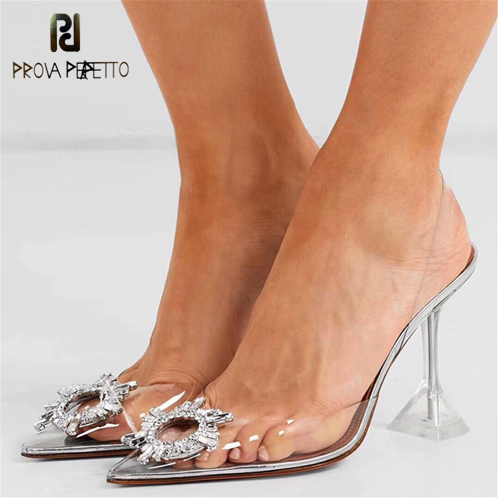 Prova Perfetto Crystal PVC Transparent Heels Women Pumps Ladies Shoes Clear Sandalias Wedding Shoes Mujer Sexy Sandales Femme