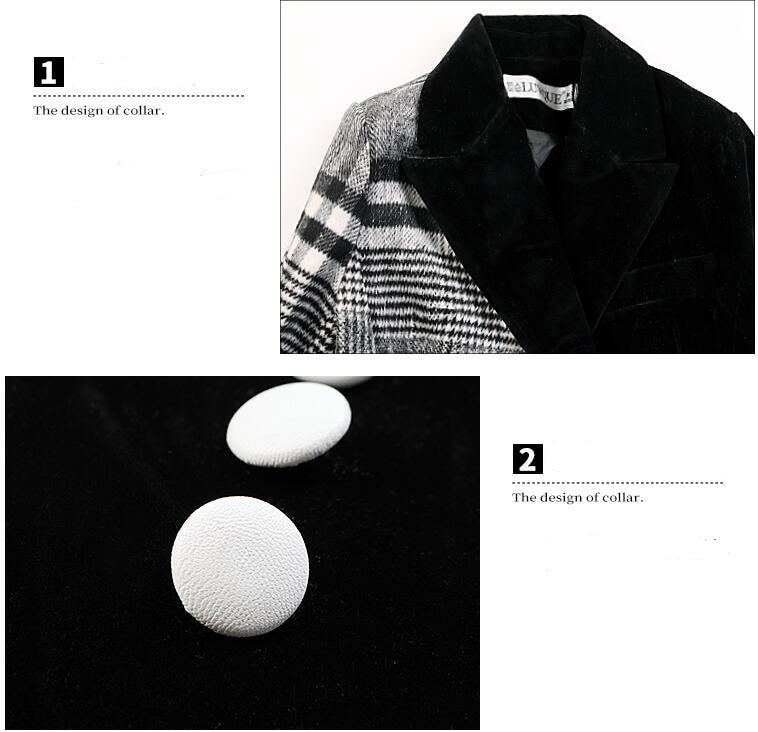 Velour Patchwork Wool Plaid Blazer Coat Female Long Sleeve Asymmetrical Women`s Suits 2019 Spring Fashion Clothes MA19 (4)