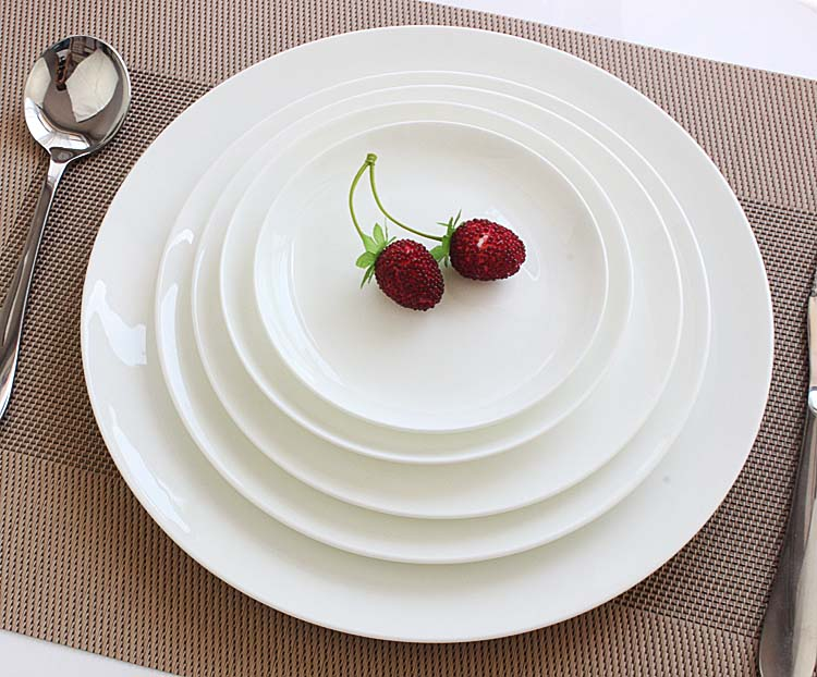 High quality bone china flat moonlight disc dish western dish face plate