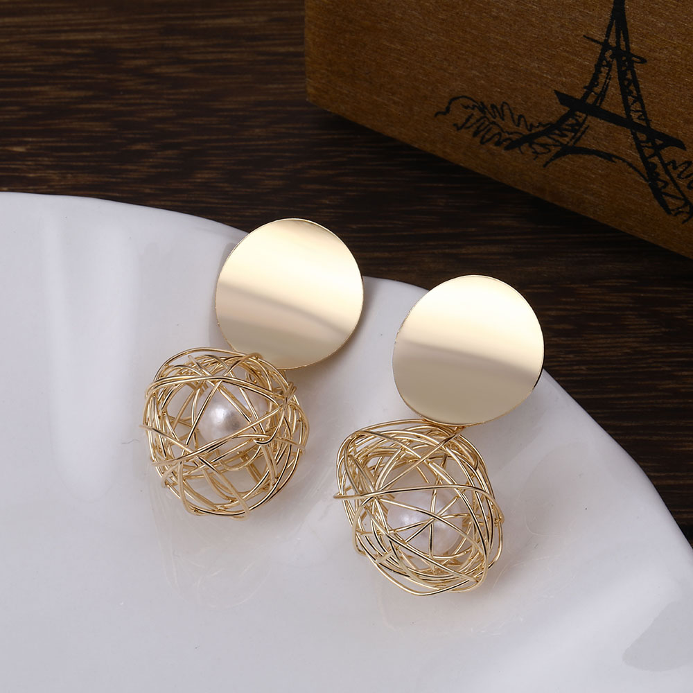 IPARAM Women's Gold Color Ball Geometry Earrings Metal Pearl Earrings Party Wedding Gifts Wholesale Earrings Jewelry(China)