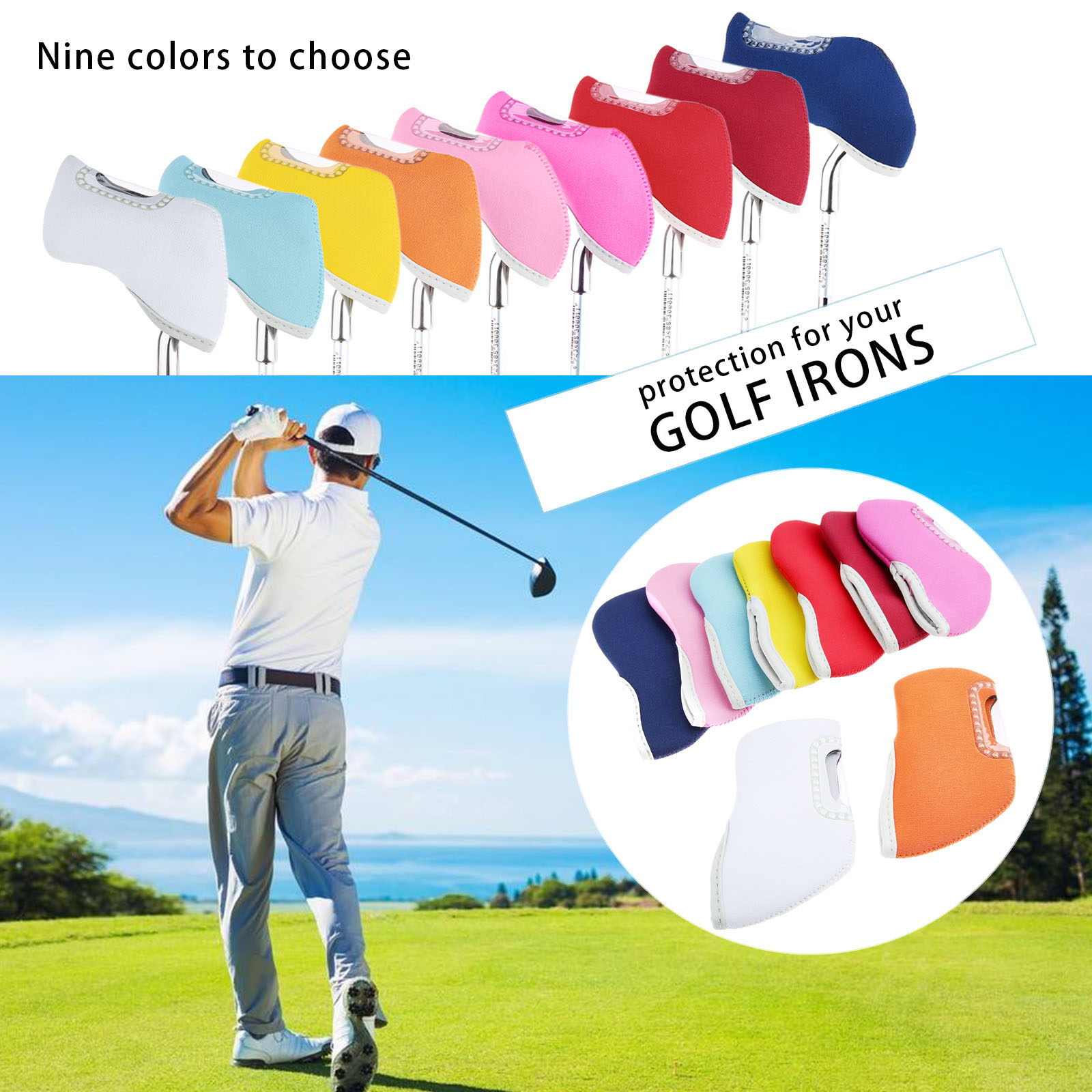 10 Pcs Golf Iron Head Covers Set