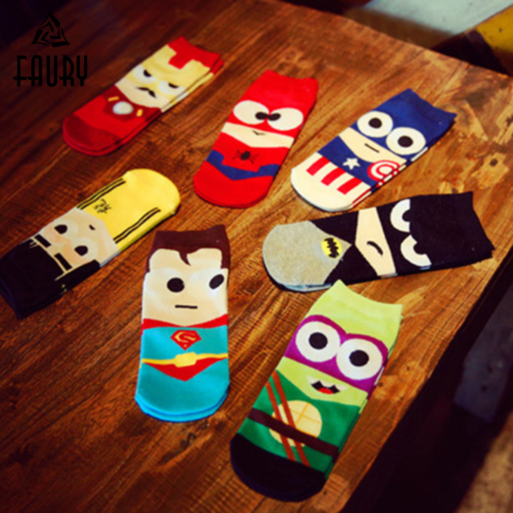 20PCS=10Pairs Summer Super Hero Iron Batman Cartoon Man Sock Ankle Cotton Socks Men Funny Boat Sock Harajuku 7 Colors Chaussette