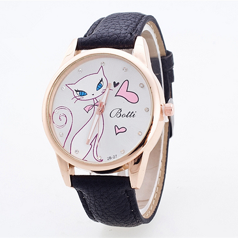 2019 New Fashion Brand Leather Strap Female Casual Bracelet Watches Cat Love Pattern Female Watch Ladies Watch Reloj Mujer