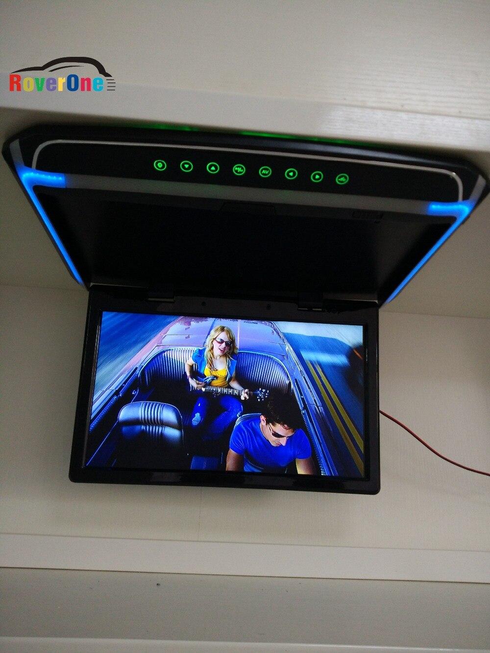 15.6'' Inch HD 1080P Automotivo Auto Mobile Car Flip Down Overhead Ceiling TFT LCD Monitor Coach Truck Bus AD Player HDMI USB SD