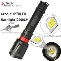 Lámpara de chip Original CREE XHP70.2 de 32w  lente de zoom potente  linterna táctica LED  linterna  y 18650 26650  proyector de batería para caza