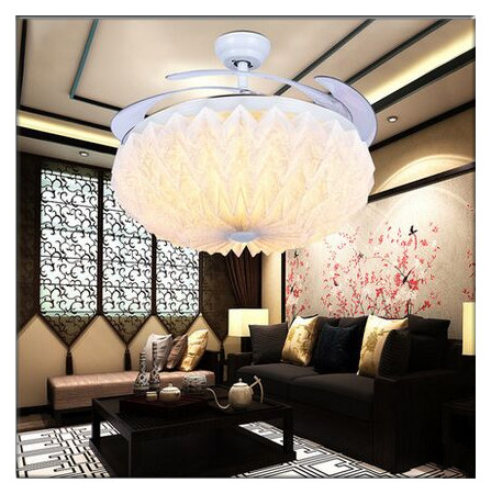 Modern Folding Flower Round Shaped LED Ceiling Fan Lights with Foldable Invisible Blades