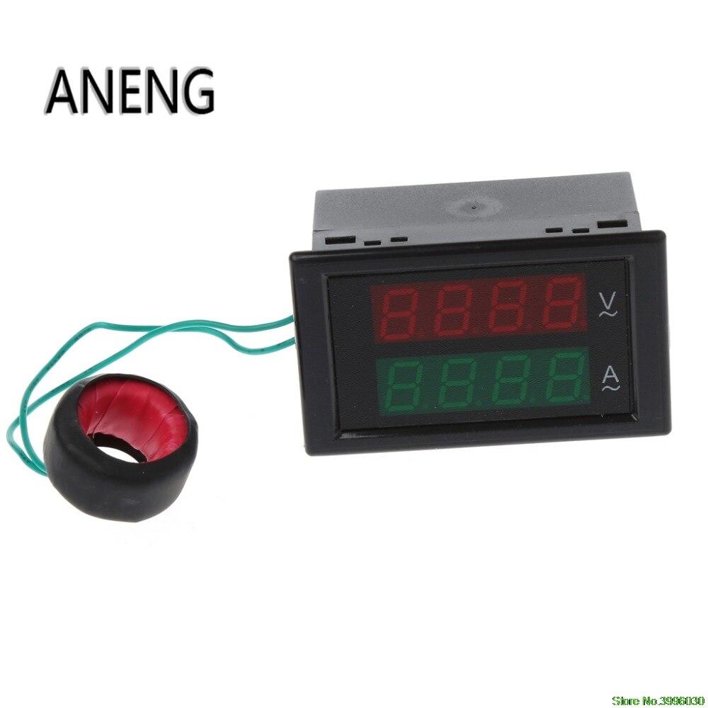 AC 80-300V Dual LCD Digital Voltmeter Ammeter Voltage AMP BLUE backlight M24