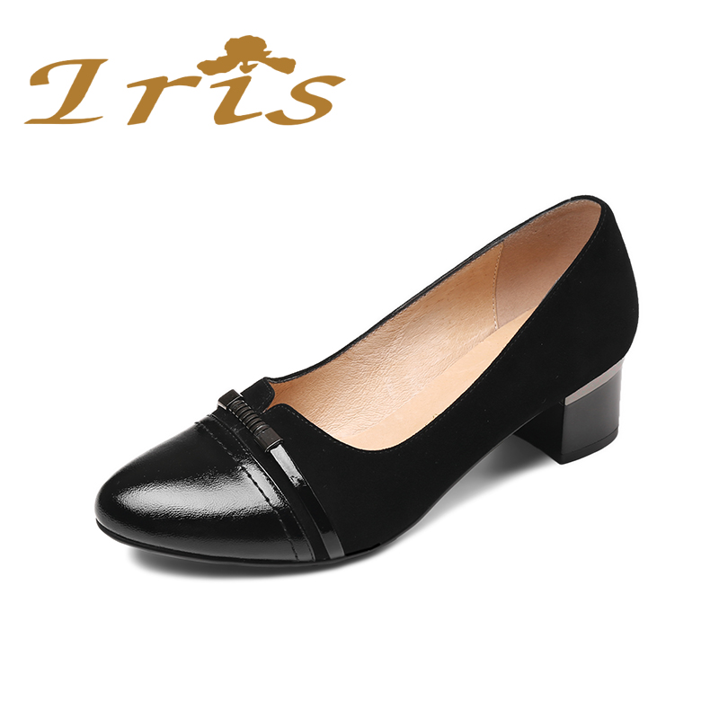 IRIS Square Med Heeled Office Shoes Women Low Heels Black Genuine Leather Round Toe Comfortable Classics