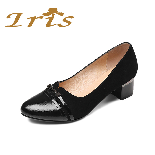 e457efce27 IRIS Square Med Heeled Office Shoes Women Low Heels Black Genuine Leather  Round Toe Comfortable Classics Pumps Russian size