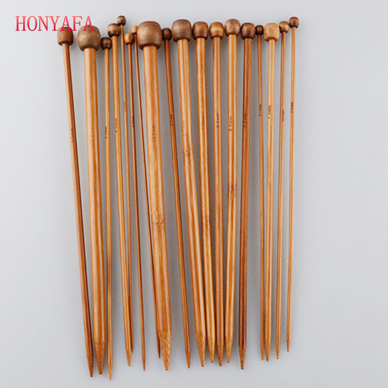 18 Sizes/lot  36CM Single Pointed Bamboo Knitting Needles Set Kit Smooth Crochet Tool Free Shipping