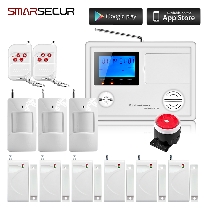 Smarsecur IOS/Android APP Remote Control 99 Wireless 4 Wired Zone GSM PSTN Home Protection Security Burglar Voice Alarm System