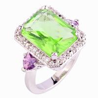 New Fashion Rings Women Jewelry Emerald Cut Light Green Amethyst 925 Silver Ring Size 9 Elegant Beautiful Wholesale Free Shiping