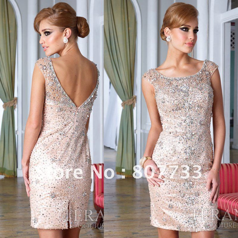 2012 New Design Gorgeous Beaded Sexy Open Back Ladies Formal Short