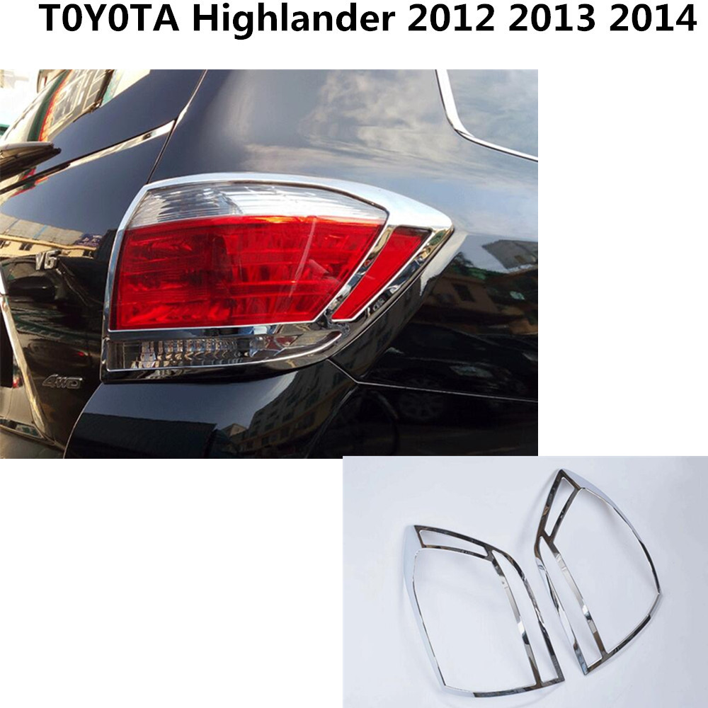 High Quality for Toyota Highlander 2012-2014 Chrome trim tail light 2pcs ABS back rear car frame lamp cover moulding frame 2pcs