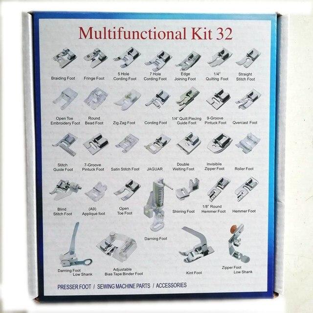 32 قطعة ماكينة خياطة المحلية تجديل أعمى غرزة جريئة قطعة قدم الضغط في ماكينة الخياطة قدم عدة مجموعة مع صندوق المفاجئة على ل Brother المغني مجموعة