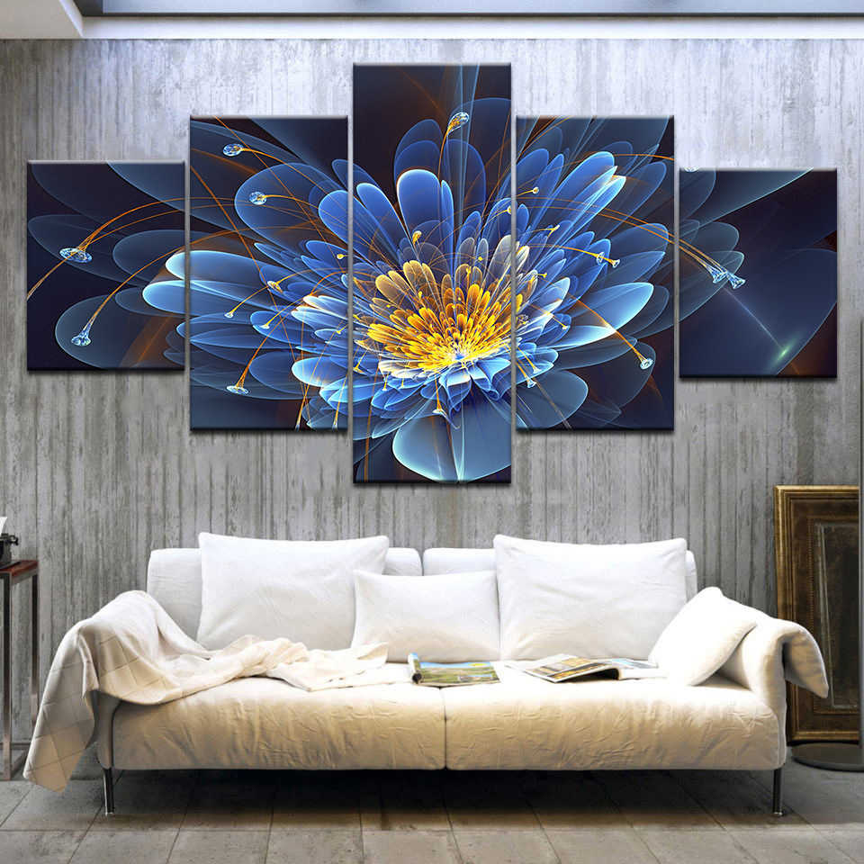 Modern Canvas HD Printed Poster Framework Bedroom Decor 5 Pieces Blue Lotus Paintings Modular Wall Art Abstract Flower Pictures