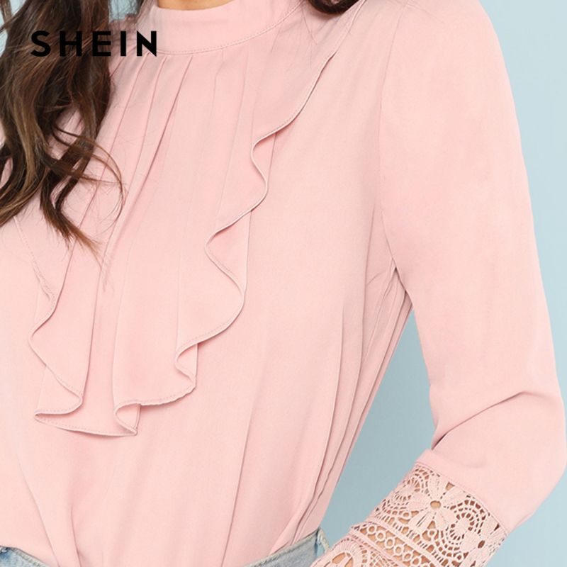 Ruffle Lace Mujeres Pink Collar Manga Workwear Shein Tops Plain Cuff Otoño Larga Neck Rosado Elegante Blusa Flounce Stand Camisa Top qpSwgPt