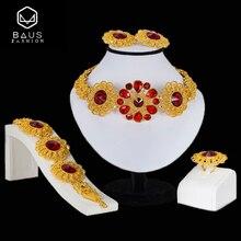hot deal buy baus bridal jewelry sets nigerian wedding jewelry set dubai gold color jewelry set woman fashion dress african beads jewelry set