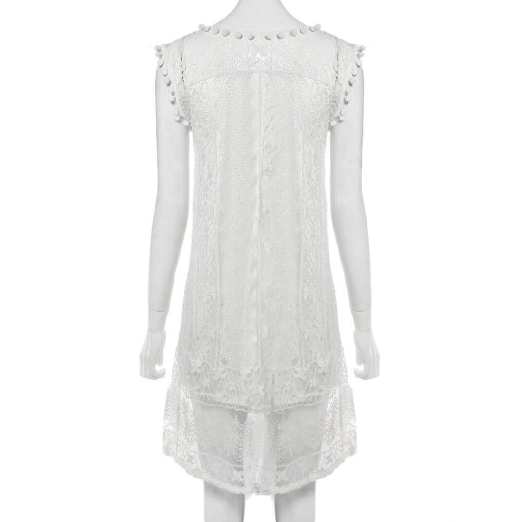 Повседневное женское платье без рукавов кружевное однотонное
