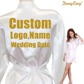 DongKing Custom LOGO Short Style Robes Bridal Party Kimono Robe Personalize Wedding Party Gold Glitter Print Satin Robes - DISCOUNT ITEM  0% OFF All Category