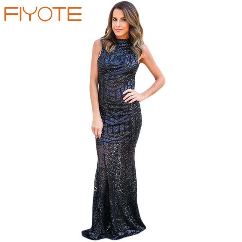 FIYOTE Vestido Lentejuelas 2016 Woman Blush Sequins Keyhole Back Party Gown  LC60881 Pageant Robe De Soiree Vestido Sexy Longo-in Dresses from Women s  ... 8108088f4a16
