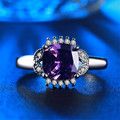 Fashion amethyst Silver Rings For Women White Gold Plated Wedding Jewelry Purple CZ Diamond engagement female ring  Bague L228