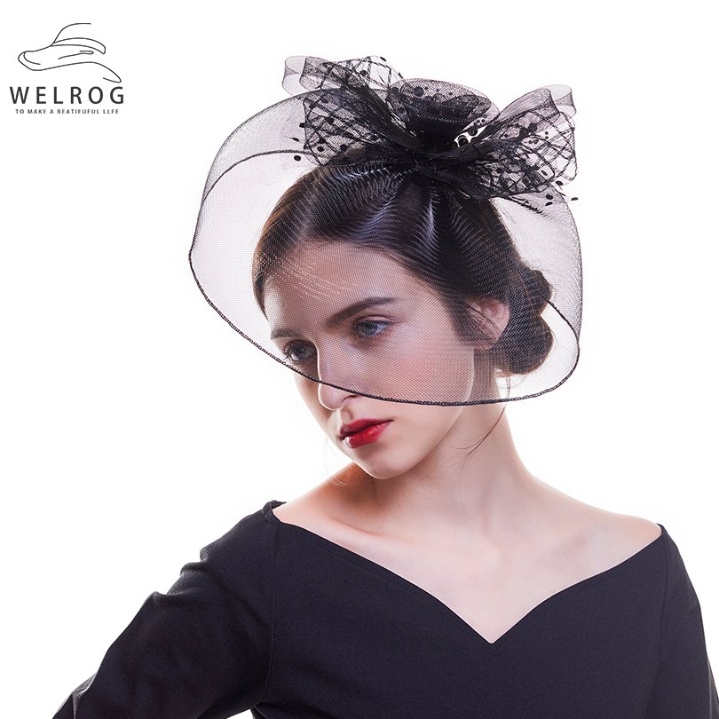 WELROG 2019 Large Fascinator Multi-Layers Mesh Headpiece Cocktail Party Ladies Big Feather Gauze Hair Clip White Red Fascinator headpiece