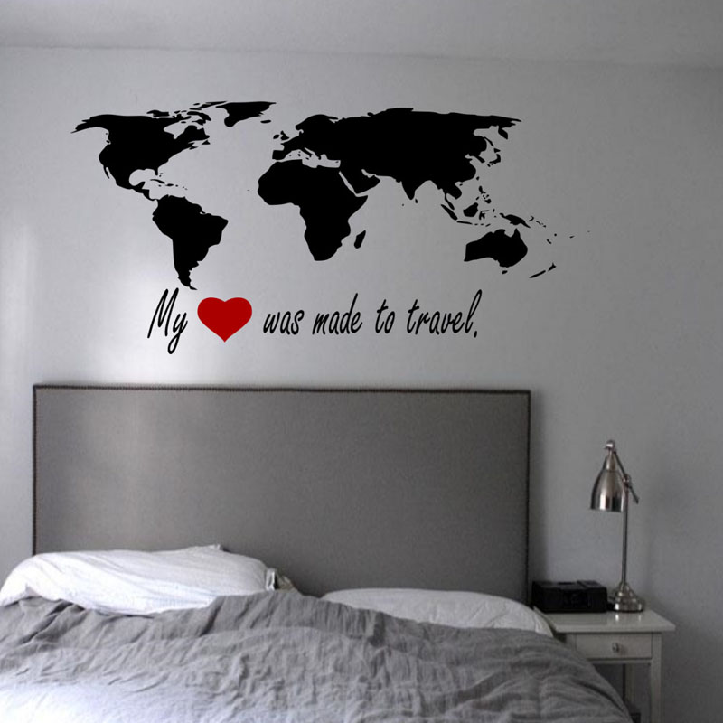 Cacar Wall Stickers My Heart Was Made To Travel World Map Wall Stickers Bedroom Removable Vinyl