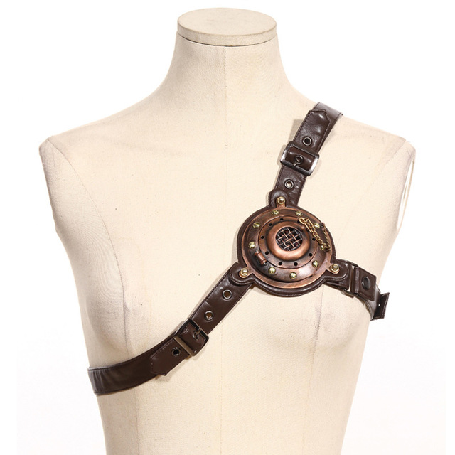 55b08b80c3d7a Vintage Metal Rivet and Brown PU Leather Steampunk Chest Belt Burlesque  Waist Belt Cosplay Costume Props Accessories
