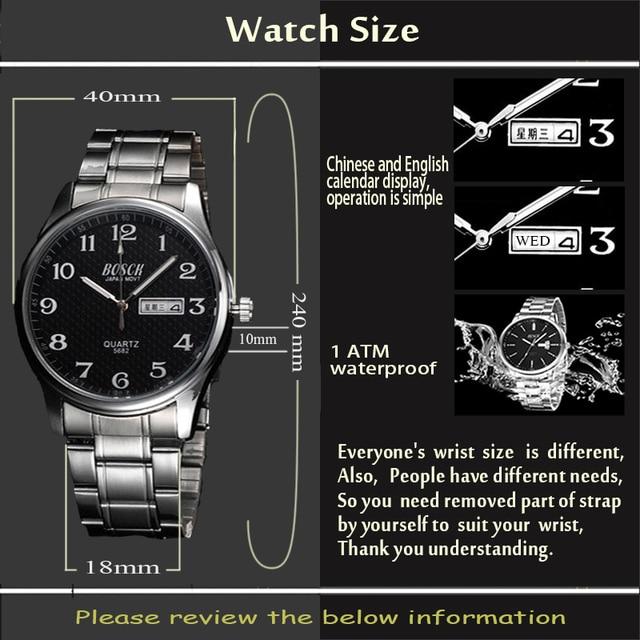 Top Luxury Brand Men's Watch Date Day Stainless Steel Relojes Luminous Hour Dress Men Casual Quartz Watch 2017 Sport Wristwatch