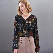 цена на 100% Silk Print V-Neck Single Breasted Long Sleeve Blouse 2019 New Women Spring Summer Office Lady Work Loose Straight Shirts