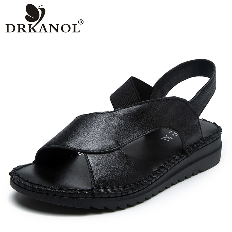 DRKANOL Genuine Leather Sandals Women Flat Gladiator Sandals Women Summer Shoes Handmade Slip On Open Toe Sandals Female BlackLow Heels   -