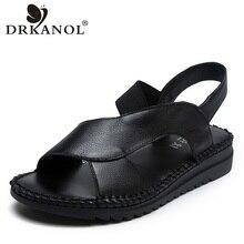 DRKANOL Sandalias planas de piel auténtica para mujer, zapatos de gladiador hechos a mano con punta abierta, color negro