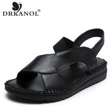 DRKANOL hakiki deri sandalet kadın düz gladyatör sandalet kadın yaz ayakkabı el yapımı kayma burnu açık sandalet kadın siyah