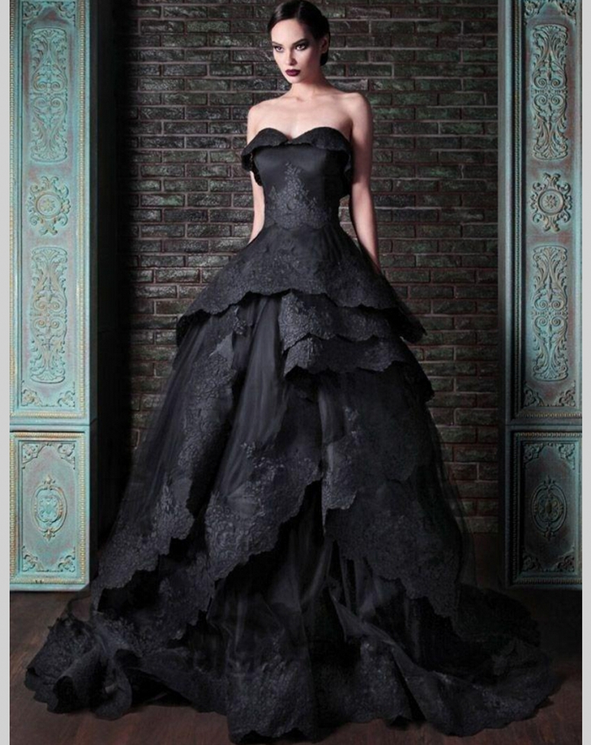 Black Gray Ruffled Wedding Gown