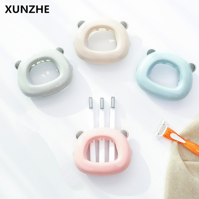 XUNZHE Cute Bear Bathroom Sucked Type Toothbrush Holders Organizer Wall  Hanging Storage Toothbrush Racks Bathroom Accessories