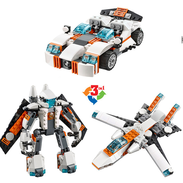 DECOOL 3115 City Architect Creator 3 in 1 Future Flyers Robot Car Aircraft Building Blocks Kids Toys Compatible Legoe Friends decool 3118 city 285pcs architect changed 3 in 1 space shuttle explorer building block diy toys educational kids gifts