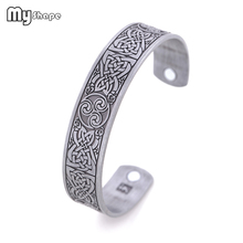 My Shape Vintage Cuff Bracelet Square Star Amulet Bracelets  Engraved Jewelry Viking Magnetic Health Bangle